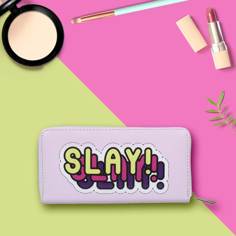 Slay print Zipper Wallet / clutch