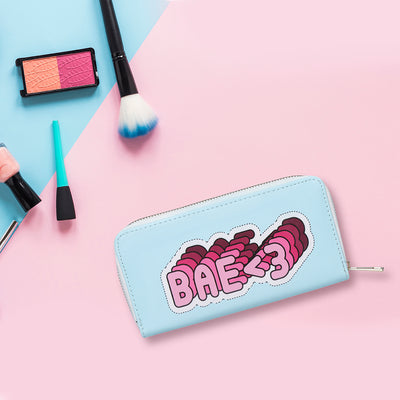 Bae print zipper wallet/clutch