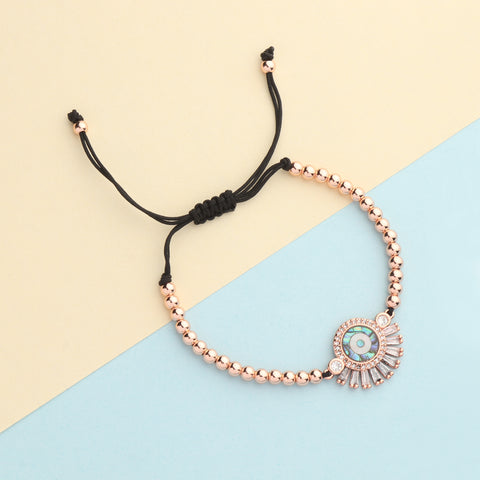 Evil Eye Baguette Bracelet Rose Gold