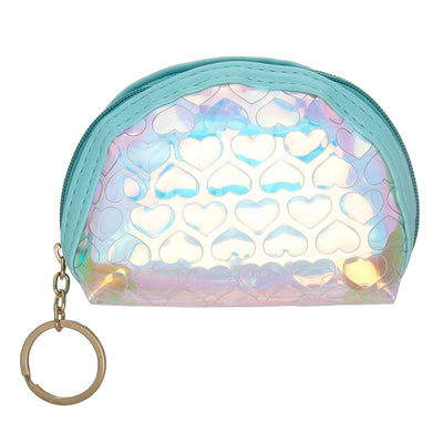Blue Heart-Rainbow Shimmer lipstick /mini coin pouch