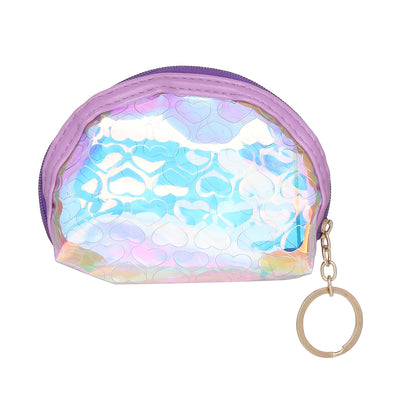 Purple Heart-Rainbow Shimmer lipstick /mini coin pouch