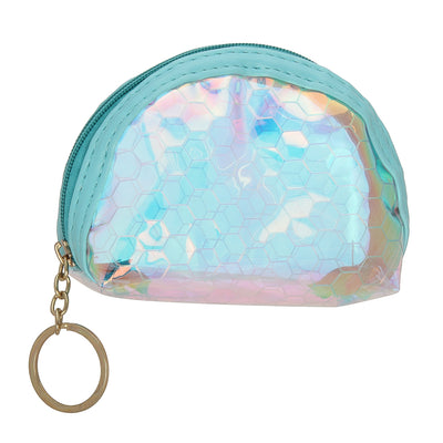 Blue Hexagon-Rainbow Shimmer lipstick /mini coin pouch