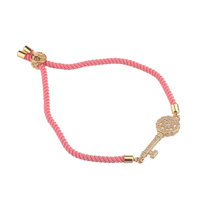 Key to the heart pink thread bracelet
