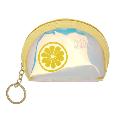 Yellow Lemon-Rainbow Shimmer lipstick /mini coin pouch