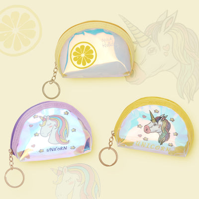 Yellow Unicorn-Rainbow Shimmer lipstick /mini coin pouch