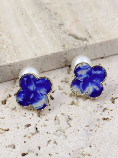 CLOVER STUD EARRINGS (Blue)