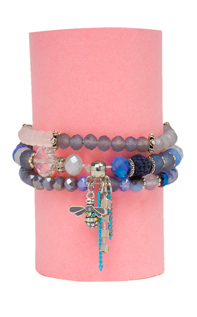 Bee Crystal Beads Charm Bracelet (Blue)- Set of 3