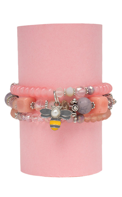 Bee Crystal Beads Charm Bracelet (Pink)- Set of 3