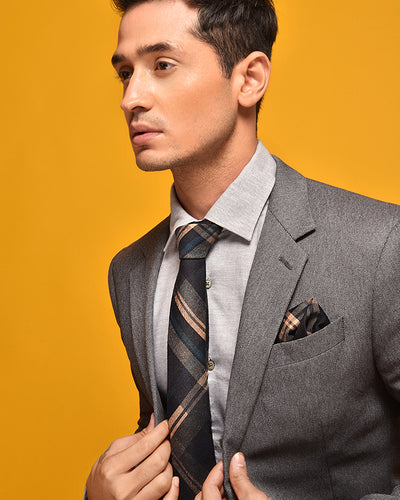 ESQUE' BLUE PLAID NECK TIE
