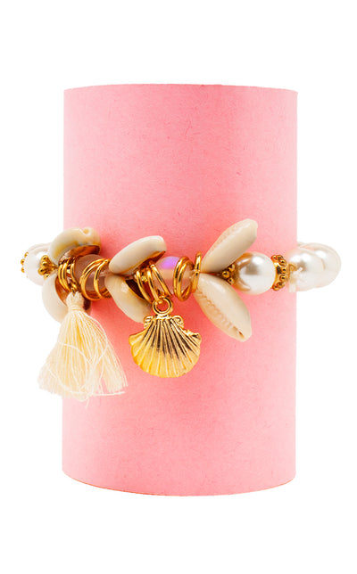 Sea Shell Pearl Beads Charm Bracelet (Gold)