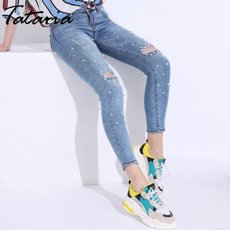 40977a2d577b9 Tataria Skinny Jeans Ripped Women Distressed Beads Jeans Woman 2018 Jeans  for women Hole Denim Women