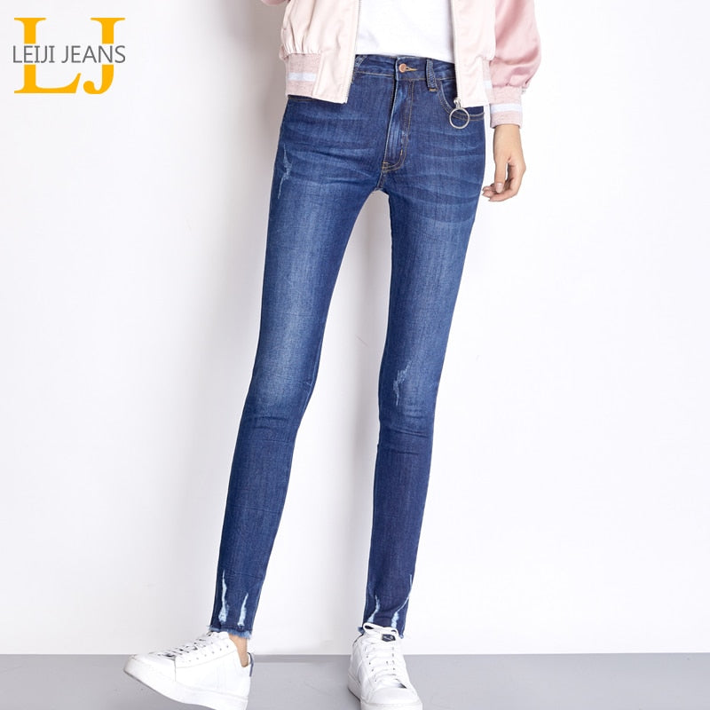 0d302cda7b5d6 LEIJIJEANS New Autumn Stretch Jeans Bleached Ripped Style Plus Size L Blue  High Street Mid Waist