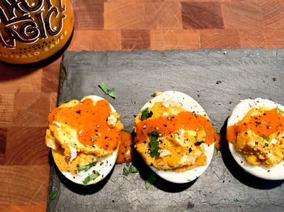 Black Magic Deviled Eggs