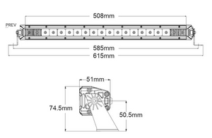 "Zeta20  20"" LED LIGHT BAR 20 X 1.5W LED COMBO BEAM 9-32V INPUT VOLTAGE"
