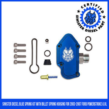 Sinister Diesel Blue Spring Kit with Billet Spring Housing for 2003-2007 Ford Powerstroke 6.0L