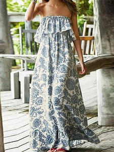 Off Shoulder Ruffed Printed Maxi Dress