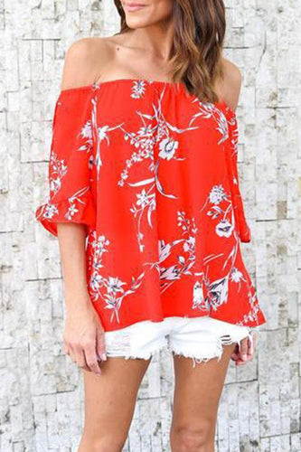 Strapless  Backless  Smocked Bodice  Printed Shirts & Blouses