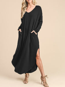 V-Neck Side Slit Curved Hem Pocket Maxi Dress