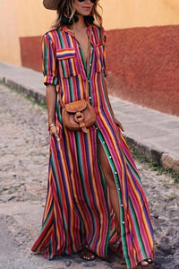 Button Down Collar Striped Roll Up Sleeve Maxi Dresses