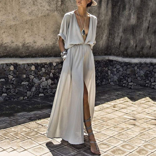 V-Neck  Elastic Waist  Solid Color Maxi Dress