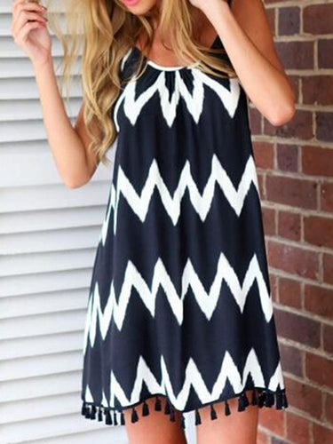 Spaghetti Strap  Fringe  Printed Shift Dress