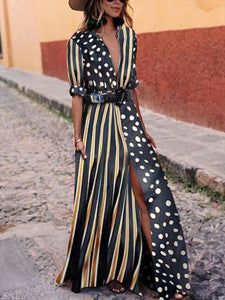 Fashionable V-Neck Striped Polka Dot Vacation Maxi Dress
