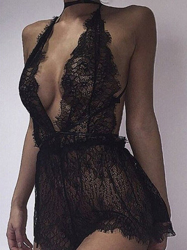 Deep V-Neck Lace-Up Hollow Out Sexy Lingerie