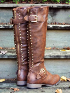 Round Toe Flat Knee Boots