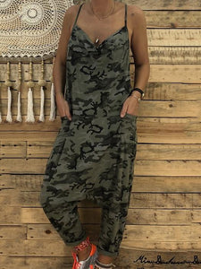 Sexy V Collar Sling Camouflage Loose Jumpsuit