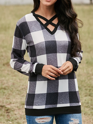 Cross Belt V-Neck Loose Sweatshirt
