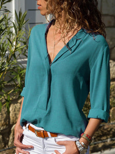 Chiffon Long Sleeve V-Neck Shirt