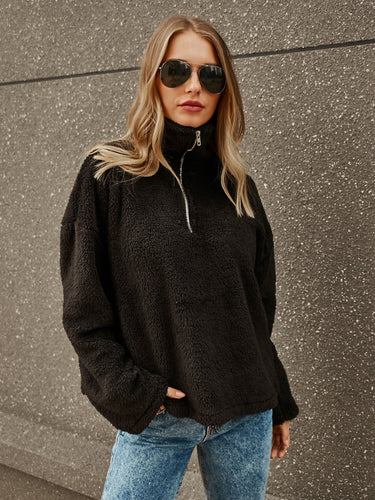 Black High Neck Zipper Loose Sweater