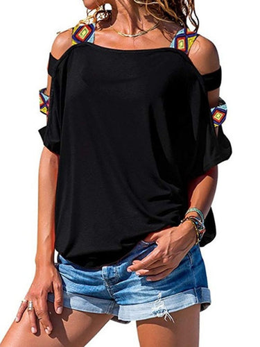 Open Shoulder Short Sleeve Casual Blouse