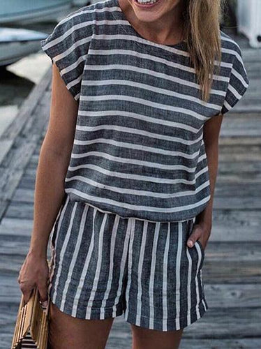 Striped Short Sleeve Rompers