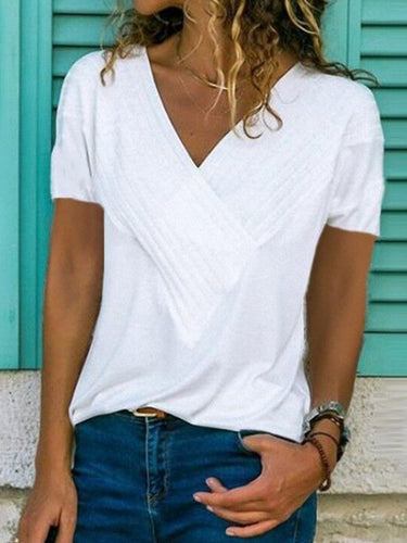 Slim-Fit Stitching V-Neck Short-Sleeved Solid Color T-Shirt