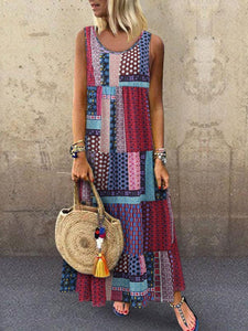 Bohemian Splicing Round Neck Sleeveless Casual Dress