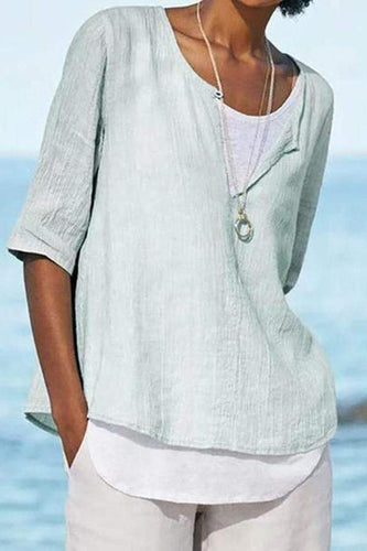 A Stylish Round Collar Short-Sleeved Shirt