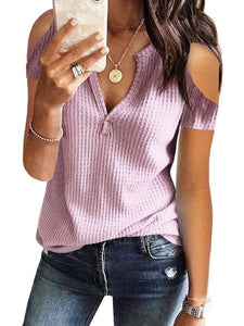 Fashion Off-The-Shoulder Short-Sleeved T-Shirt