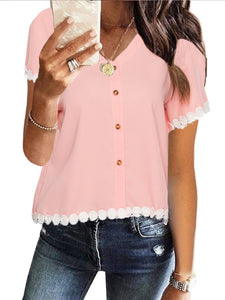 Stitching Lace V-Neck Short-Sleeved Shirt