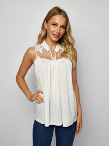 Solid Color Lace Stitching Sleeveless Shirt