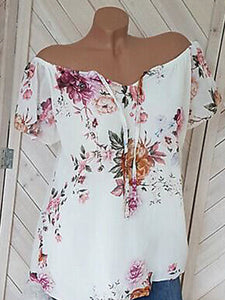 Floral Short-Sleeved V-Neck Chiffon Shirt