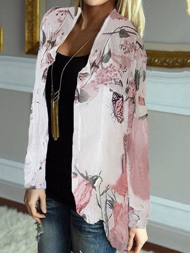 Butterfly Print Long Sleeve Cardigan