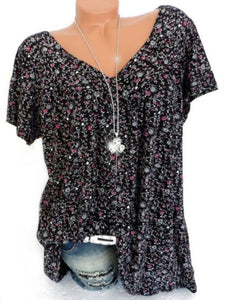 Floral Print V-Neck Short Sleeve T-Shirt