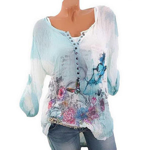 Long Sleeve Printed Round Neck Button Chiffon Shirt