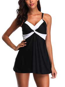 Black Contrast Color V-Neck One-Piece Swimsuit