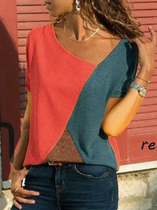 Splicing Contrast Color Round Neck Short Sleeve Casual T-Shirt