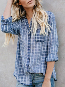 Slim-fit blue plaid long-sleeved shirt