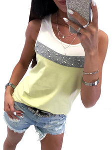 Round Neck Sleeveless Beaded Color Matching Vest