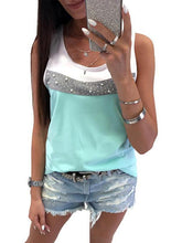 Load image into Gallery viewer, Round Neck Sleeveless Beaded Color Matching Vest