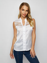 Load image into Gallery viewer, Solid Color V-Neck Sleeveless Lace Stitching